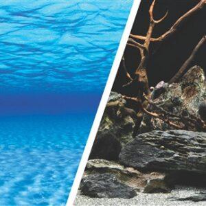 Фон аквариумный «Морская лагуна/Натуральная мистика», двухсторонний,  30см/ 50см / 60 см.