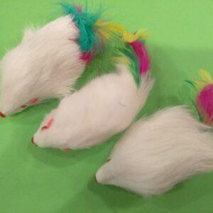 Мышь 3.5″ погремушка с пером