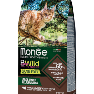 Monge PFB Cat BWild GRAIN FREE беззерновой корм из мяса буйвола для крупных кошек всех возрастов 10 кг