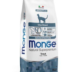 Monge Cat Monoprotein Sterilised корм для стерилизованных кошек с форелью 10 кг