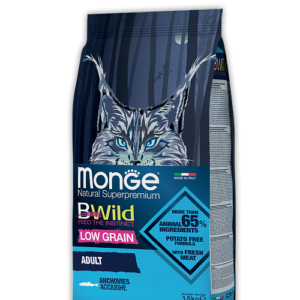 Monge PFB Cat BWild LOW GRAIN низкозерновой корм из анчоуса для взрослых кошек 10 кг