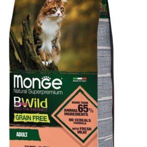 Monge Cat BWild GRAIN FREE беззерновой корм из лосося и гороха для взрослых кошек 1,5 кг