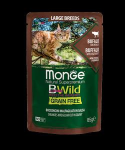 Monge Cat BWild GRAIN FREE паучи из мяса буйвола с овощами для кошек крупных пород 85г