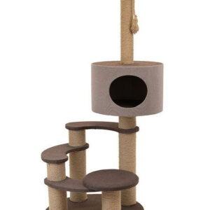 Комплекс Редпластик «Флоренция» многоуровневая, с домиком, бежевый, экокожа, (белый ковролин)70*60*138 (ТМ «ZooM») 8262бк/беж